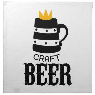 Handwerks-Bier-Logo-Entwurfs-Schablone mit Krone Serviette