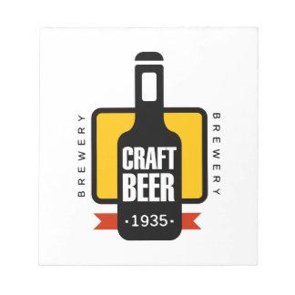 Handwerks-Bier-Logo-Entwurfs-Schablone Notizblock