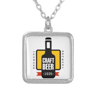 Handwerks-Bier-Logo-Entwurfs-Schablone Versilberte Kette