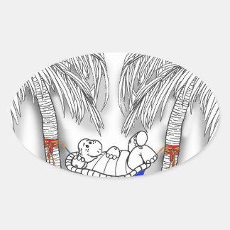 Hängemattenschildkröte Ovaler Aufkleber