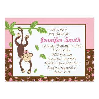 Hängende Affe-Babyparty-Einladung 12,7 X 17,8 Cm Einladungskarte