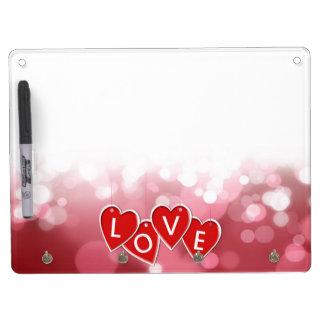 Hängende Liebe-Aufkleber-Herzen - trocknen Sie Trockenlöschtafel Mit Schlüsselanhängern