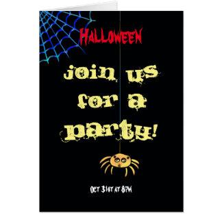 Hängende Spinne Halloween Karte