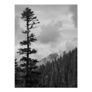 Hängende Wolken-Schwarzweiss-Landschaft Poster