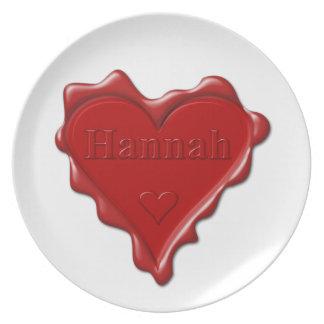 Hannah. Rotes Herzwachs-Siegel mit Namenshannah Teller
