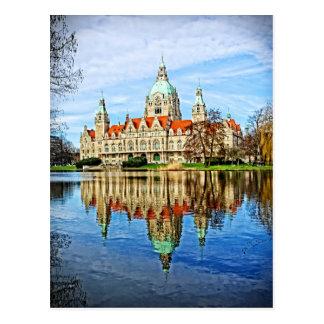 Hannover, Deutschland - alte Rathaus-Reflexionen Postkarte