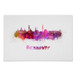 Hannover skyline im Watercolor Poster