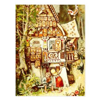 Hansel und Gretel an der Lebkuchen-Hütte Postkarte