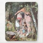 Hansel und Gretel und die Hexe an der Tür Mousepads