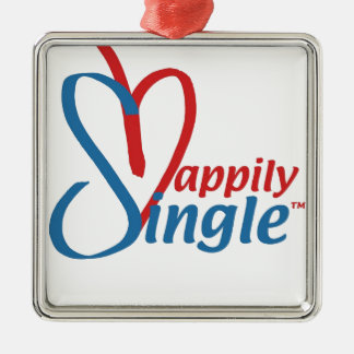 HappilySingle™ Quadratisches Silberfarbenes Ornament