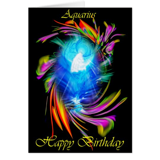 Happy Birthday Aquarius - Wassermann Karte