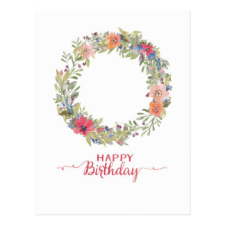 Happy Birthday Blumenkranz Aquarell Postkarte