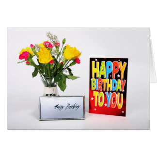 Happy Birthday Card in Card -with Flowers Karte