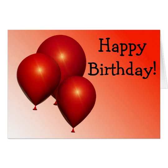 Happy Birthday Card: Three red Balloons Karte