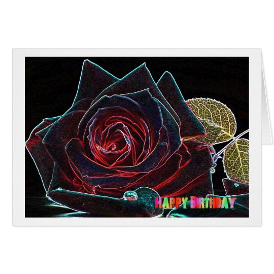 Happy Birthday Card with rose Karte