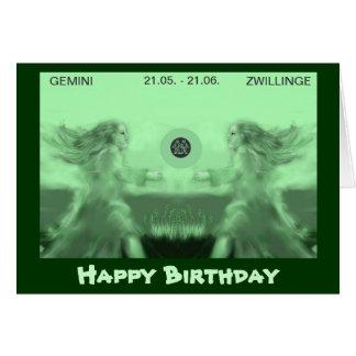 happy birthday --zodiac - Zwillinge Karte