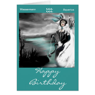 happy birthday zodic aquarius-wassermann karte