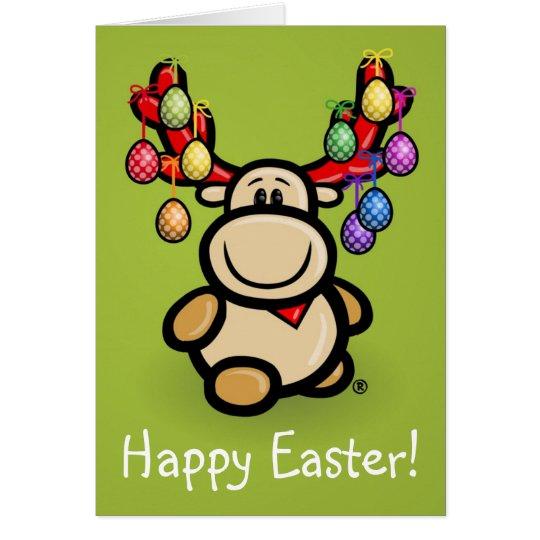 """Happy Easter"" with cute moose Elmondo Karte"