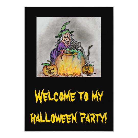 Happy Halloween Hexen-Katze 12,7 X 17,8 Cm Einladungskarte
