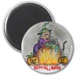 Happy Halloween Hexen-Katze Runder Magnet 5,7 Cm