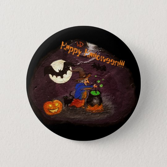 happy halloween witch with bats runder button 5,7 cm