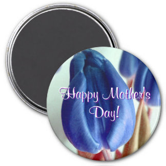 Happy Mother's Day Blue Tulips Fridge Magnets