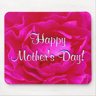 Happy Mother's Day Pink Rose Mouse Mats
