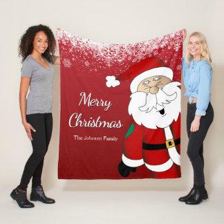 Happy Santa -  Merry Christmas Fleecedecke