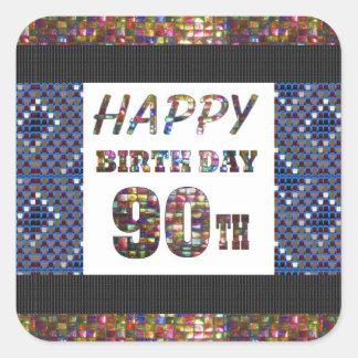 happybirthday alles Gute zum Geburtstag 90 90. Quadratischer Aufkleber