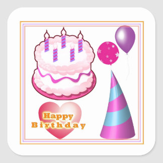 HappyBIRTHDAY Kuchen-Ballon-Dekorationen Quadratischer Aufkleber