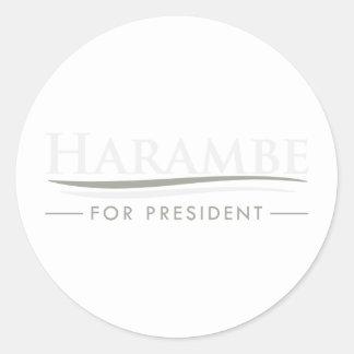 Harambe für Präsidenten Runder Aufkleber