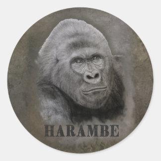 Harambe (Graphitzeichnen) Runder Aufkleber
