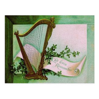 Harfe des Erin Kleeblatt-Grüns Postkarte