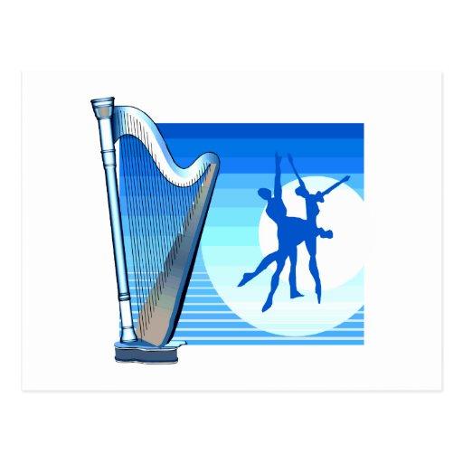 Harfen-und Tänzer-blaues Versions-Grafik-Bild Postkarte