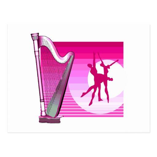 Harfen-und Tänzer-rosa Versions-Grafik-Bild Postkarten