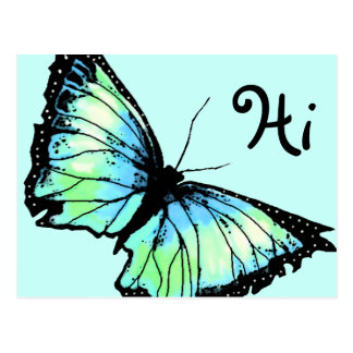 """Harlekin"" (Aqua-Schmetterling) Postkarte"