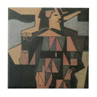 Harlekin durch Juan Gris, Vintage Kubismus-Kunst Fliese