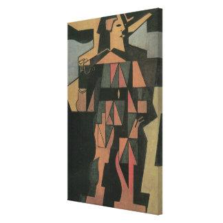 Harlekin durch Juan Gris, Vintage Kubismus-Kunst Leinwanddruck