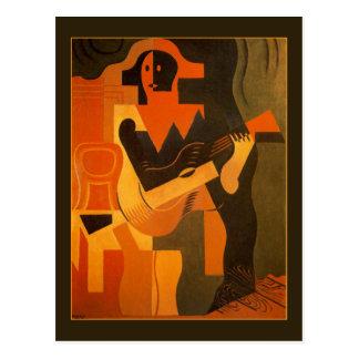 Harlekin mit Gitarre durch Juan Gris Postkarte