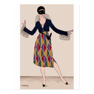 Harlekin-Mode-Porträt Postkarte