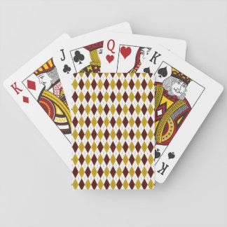 Harlekin-Rauten-Diamant im Granat und im Gold Spielkarten