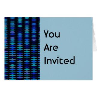 Harlekinmuster Party des blauen Schwarzen lädt ein Karte