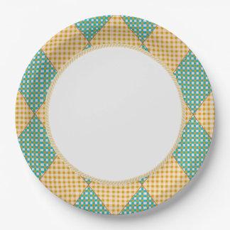 Harlequin_Diamond-Quilt_Melon_Teal_Everyday Pappteller