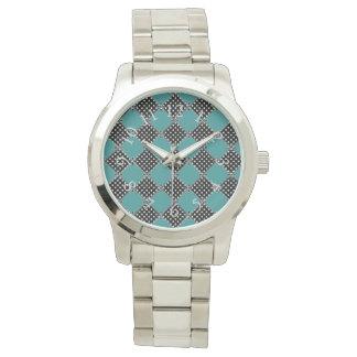 Harlequin_Quilt-Polka Punkt-Aquamarin Uhr