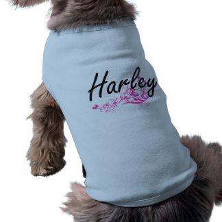 Harley künstlerischer Namensentwurf mit Blumen Ärmelfreies Hunde-Shirt