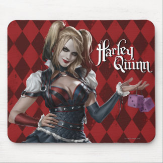 Harley Quinn mit flockigen Würfeln Mauspad