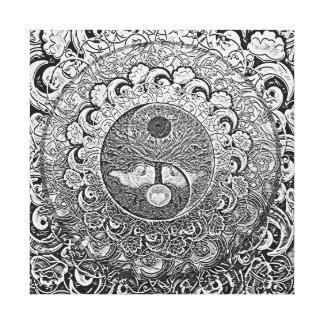 Harmonie und Balance silbernes Yin Yang Leinwanddruck
