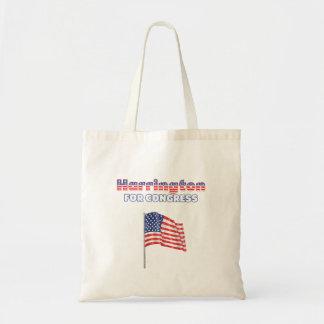 Harrington für Kongress-patriotische amerikanische Budget Stoffbeutel