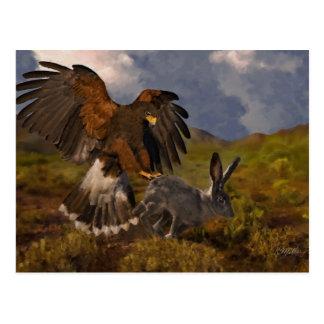 Harris feilbieten und Hase - Acryl Postkarte