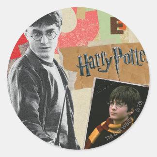 Harry Potter dann und jetzt Runder Aufkleber